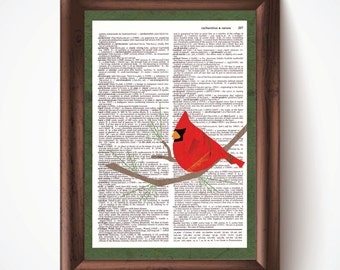 Cardinal Defined Dictionary Page Print from Pastel Drawing