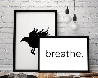 Breathe Reminder Print from Original Scandinavian Style Design