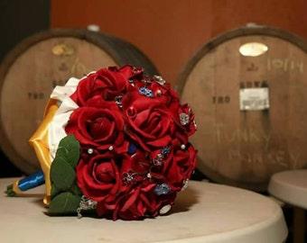snow white themed bridal bouquet