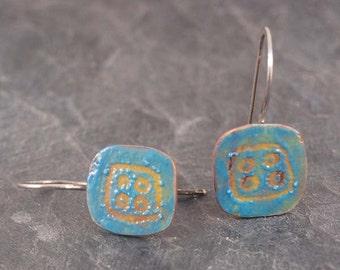 Copper enamel drop earrings, sgraffito enamel earrings, teal blue #0086