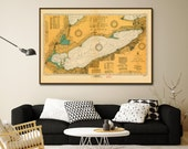 """Lake Erie map of 1929, Vintage Lake Erie nautical map/chart reprint - 6 sizes up to 72""""x48"""""""