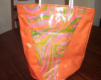 1960's  Groovy Tote Bag  Psychedelic Plastic