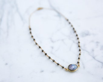 Gemstone and Pyrite Necklace