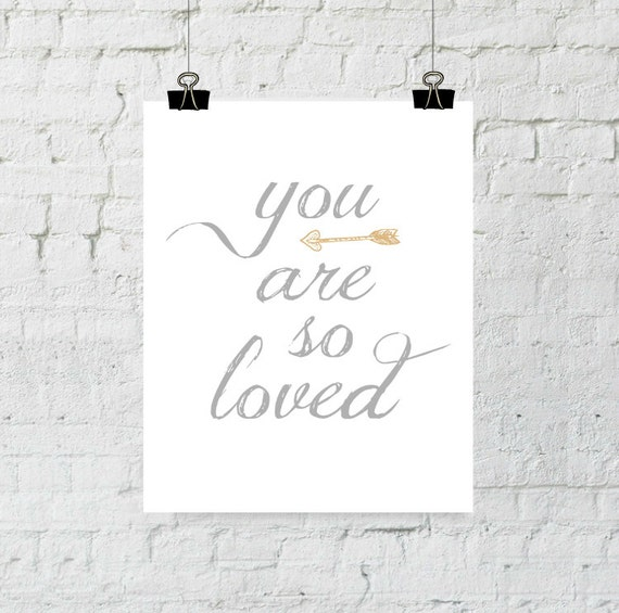 You Are So Loved, Nursery Decor, Arrow Wall Art, Home Decor, Typography, Nursery Wall Art, Wall Art Prints, Instant Download, ADOPTION