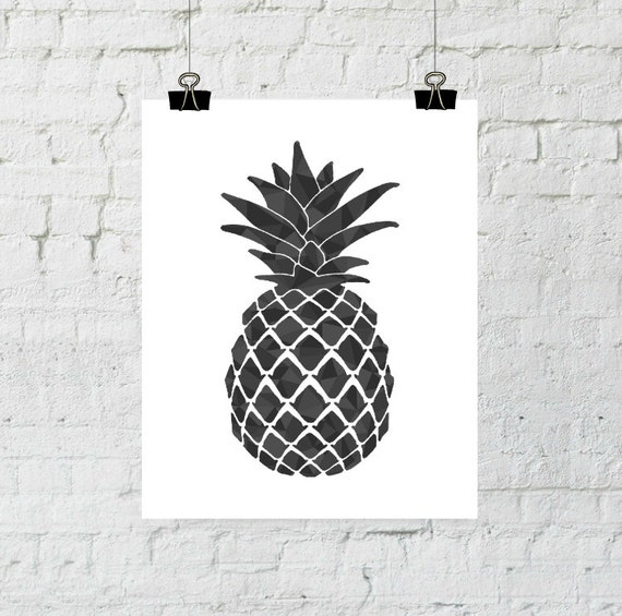 Black Pineapple, Pineapple Print, Pineapple Wall Art, Black Pineapple, Pineapple Art, Pineapple Decor, Psych Tv Show, Pineapple, Printable