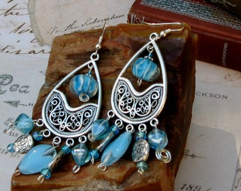 Aqua Blue Lampworked Glass Chandelier Earrings