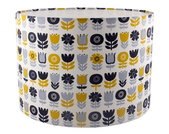 Scandi style flowers mustard navy grey UK/EU/US pendant (ceiling) or table lamp fitting