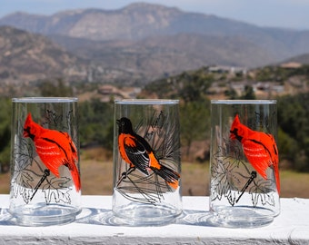 Lot Of 3 Vintage Bird Glasses Anchor Hocking Tumblers Oriole Red Bird Cardinal