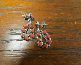 Petit Point, Red Coral and Sterling Zuni Earrings Signed Larry Laate