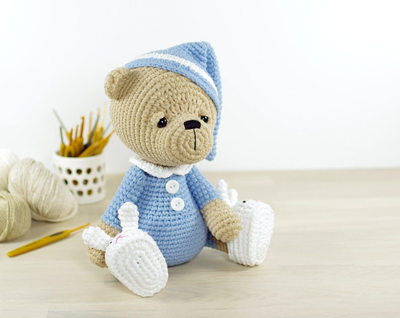 PATTERN: Sleepy Teddy Bear in Pajamas and Bunny by ...