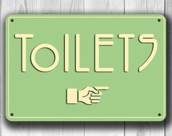 TOILETS SIGN, toilet signs, Classic Chic Toilet Sign, Toilet Directional Sign with pointer, Restroom Sign, toilet sign decor, Restroom decor