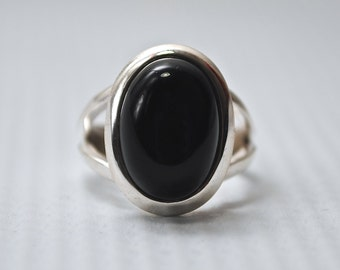 Sterling Silver Oval Black Onyx Ring Sz 5 #6235