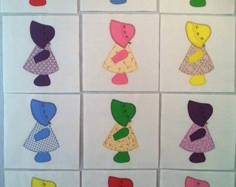 Sunbonnet Sue Quilt Blocks done in 30's reproduction Fabrics