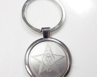 Sailor Mercury Keychain Key Chain Tag Engraved Silver Tone Metal KEN-0046