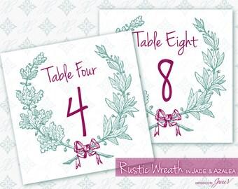 Table Card Printable Template Download   Digital Tented Table Number Download   Rustic Wreath in Jade & Azalea