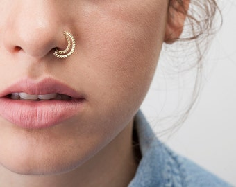 Tribal Nose Ring, Indian Nose Hoop, Indian Nose Piercing, Nose Ring, Nose Jewellery, Nostril Ring, SOLID 14K Gold, Nose Hoop, Moon Nose Ring