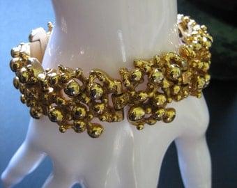 Vintage Mid Century Signed Robert Larin Modernist Brutalist Gold Tone Wide Bracelet