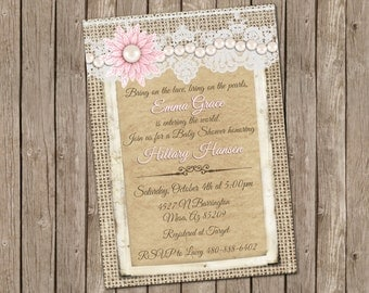 Pearls and Lace Baby Shower Invitation, Burlap and Lace Invitation, Baby Girl Invitation, Pink and Pearls Baby Shower