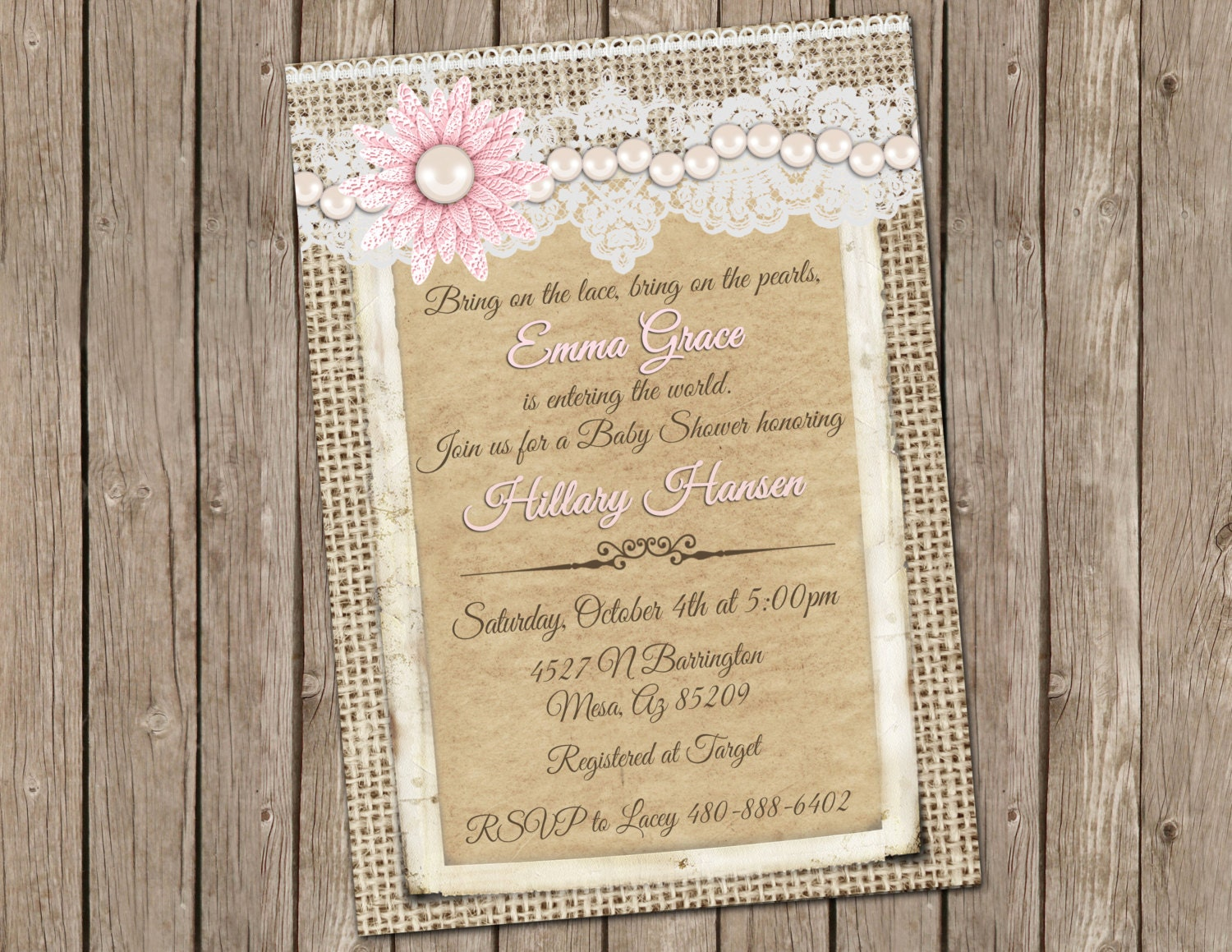 burlap and lace vintage baby girl shower invitation with