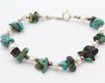 """Vintage Jordan Strung Turquoise Nugget and Pearl 7"""" Bracelet with Sterling Silver. [10755]"""