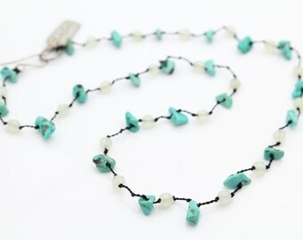 "Anothai Handmade Turquoise Nugget and Moonstone Necklace 16"". [6408]"