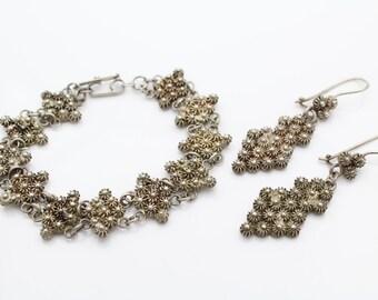 Very Unusual 3D Filigree Flower Bracelet and Earrings Set 950 Sterling Silver 23g. [7021]