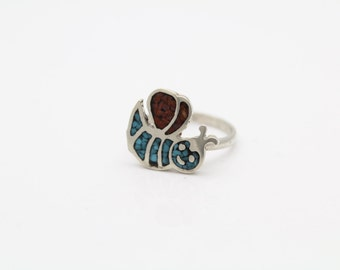 Handcrafted Childrens Southwestern Bee Ring in Sterling Silver Size 3. [10165]