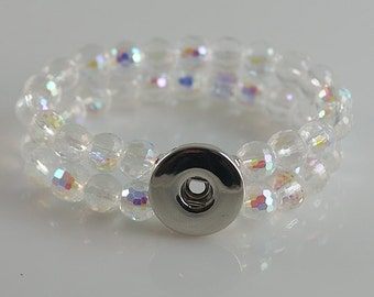 KB4506 Double Clear Crystal Elastic Bracelet with Rainbow Highlights for Snap-It Charms