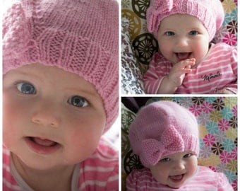 Hand knitted Baby Hat,Wool Baby Girl hat, newborn hand knitted hat, baby bow hat, hand knitted baby clothing,hand knitted baby girl hat