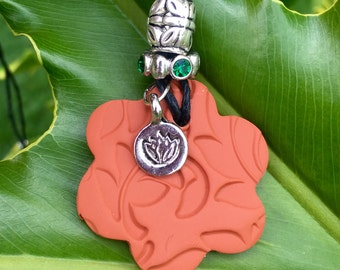 Lotus Flower Terra Cotta Pendant (Includes Essential Oil of Your Choice)