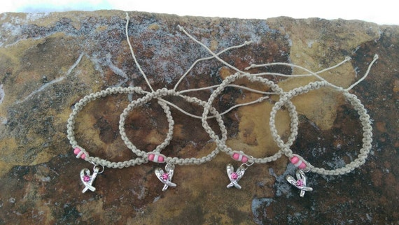 Pink Ribbon Hemp Bracelet Set Breast Cancer Bracelets