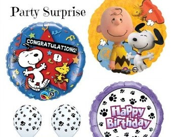 Peanuts Snoopy Charlie Brown Balloons Snoopy Congratulations Paw Prints Happy Birthday Party Balloons