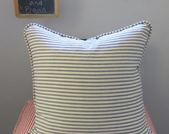 Navy/Ivory Ticking Stripe Custom Pillow Cover w/Piping and Invisible Zipper