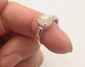 Handmade sterling silver moonstone ring size 6