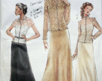 Vogue 7798 Misses'Formal Top, Camisole and Skirt Sewing Pattern New / Uncut Size 8,10,12