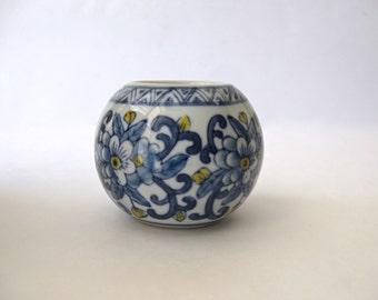 Vintage Porcelain Tea Light Holder / Votive / Blue White Floral Motif