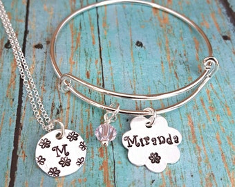 Initial Necklace - Personalized Jewelry - Name Bracelet - Flower Necklace - Bangle Bracelet - Little Girls Jewelry - Gift for Girls