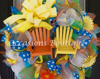 Summer Wreath, Summer Door Hanger, Front Door Wreath, Wreath for Door, Deco Mesh Wreath, Pre-Order