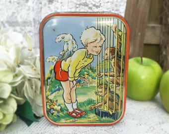 Adorable Mid Century Zoo monkeys Tin Litho Box, Sharp's Toffee, vanity, tea, trinket, storage, Nursery décor, red blue