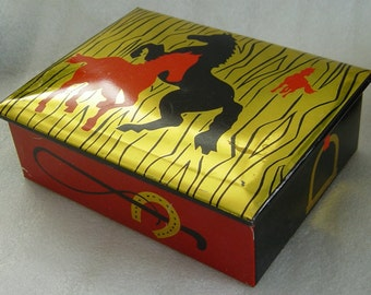 vintage 40s/50s tin box with abstract horses