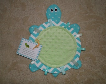 Handmade One of a Kind Tony Turtle Sensory Ribbon Tag Baby Blanket