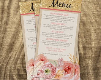Baby Shower Menu, Baby Shower Stationery, Baby Girl, Rustic, Shabby Chic,