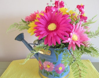 Watering Can, Blue Metal, Painted Flowers, Summer Flowers, Yellow, Pink, Fushsia, Gerbers, Daisy, Ferns, Yellow, Pink Filler, Centerpiece