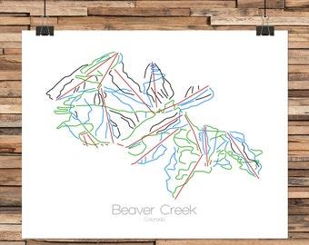 Beaver Creek Colorado - Modern Ski Trail Map - Line Drawing