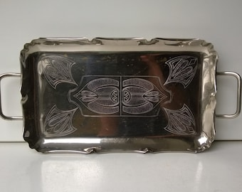 WMF, Silver-Plated Engraved Tray, Art Deco Era, Germany, 1925