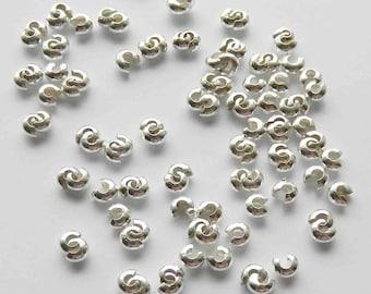 100 Silver Metal Bead Crimp Covers 4mm