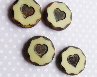 2 x Large Czech Table Cut Heart Inlay Beige Brown Picasso Focal Beads 21mm