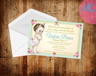 Sabby Chic Baby Shower Invitation set of 25 PRINTED INVITATIONS with envelopes