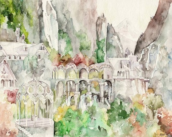 "Rivendell Painting - Print from Original Watercolor Painting, ""Imladris"", Lord of the Rings, The Hobbit"
