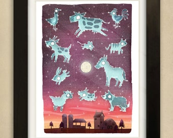 Farmyard Constellations Illustration - Children's Art Print